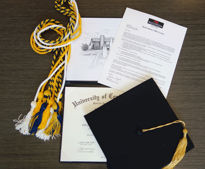 Graduation cap, tassels, diploma, and a job letter from red lobster