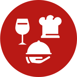 icons of Wine Glass, Chef's Hat, and Server's Platter